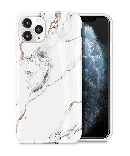 GVIEWIN Marble Case Compatible with iPhone 11 Pro Max, Slim Thin Glossy Soft TPU Rubber Gel Phone Case Cover Compatible with iPhone 11 Pro Max 6.5 Inch 2019 Release (White/Gold)