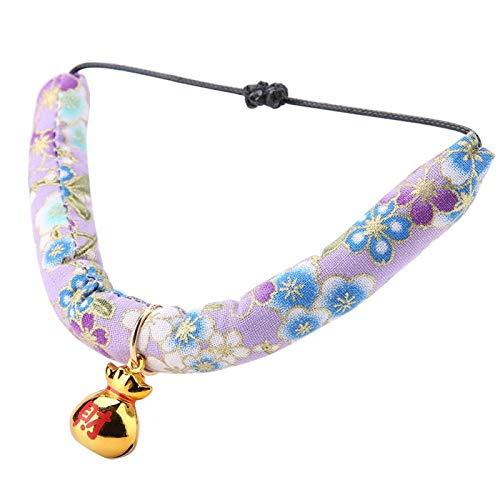 XQAQX Collar, Collar para Mascotas, Collar con Campana, Collar Estilo japonés con Campana para Gatos Collar con Estampado de patrón de caniches para Perros pequeños(Púrpura)