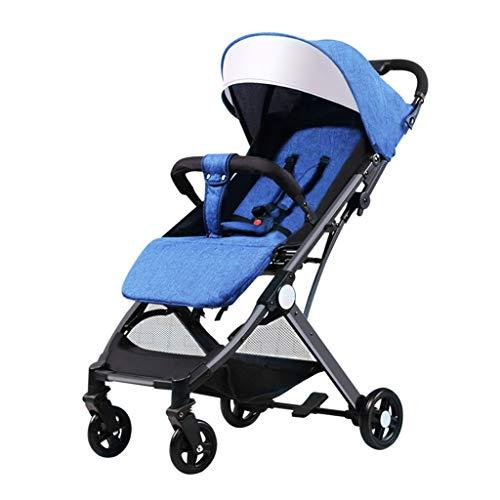BLWX - La Poussette de bébé Triple Peut s'asseoir inclinable Ultra-léger Pliant d'une Seule Main Peut être utilisé sur la Poussette de bébé de Chariot à Avion Poussette (Couleur : Bleu)