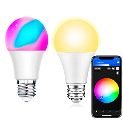Bombilla inteligente LED compatible Alexa, Google Home & Phlips Hue, Smart Bulb Multicolor Cálido/Fríos Pack2 bombillas E27 Si Smart, requiere puerto de enlace App Smart Life
