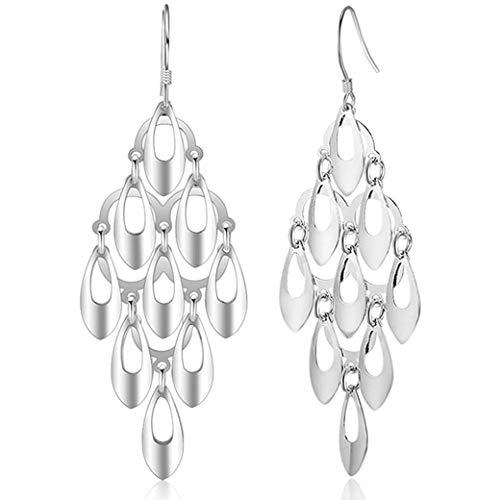 925 Sterling Silver Dangle Earrings - Polished Vintage Irish Celtic Knot Drop Earrings for Women