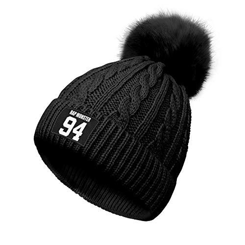 Yjbcvf BTS-RAP-MONSTER-94-White- Beanie Cap Knitted for Women Soft Black Beanie Hats Multifunctional Headwear