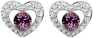 Robella Swarovski Elements Earring Encrusted With PurpleSwarovski Crystals ROB-046