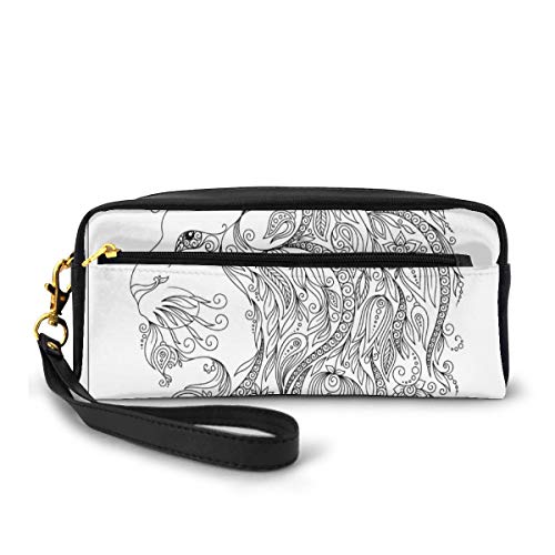 Pencil Case Pen Bag Pouch Stationary,Visage of Zodiac Leo with Flowers on Hair King of Forest Horoscope Theme,Small Makeup Bag Coin Purse