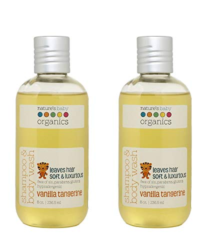 Natures Baby Organics Baby Shampoo And Body Wash, Moisturizing Tear Free Baby Shampoo All- Natural Baby Wash With Organic Ingredients, No Sulfate or Paraben, Vanilla Tangerine, 8 oz ea, 2 Pack