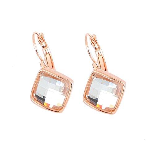 Crystalline Azuria Pendientes de oro rosa o blanco de 18 quilates para mujer, cuadrados de rombo blanco, azul, verde, morado, naranja, rojo, cristales colgantes de palanca