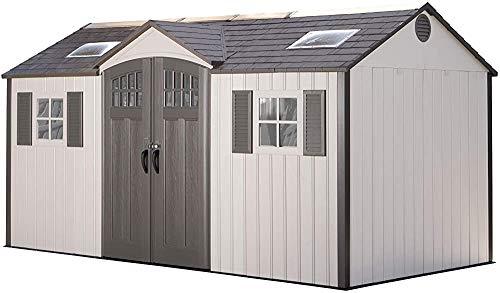 Desert Sand Plastic Garden shed, Outdoor Storage shed with a Basic kit and Rugged Fixed Window,Brown