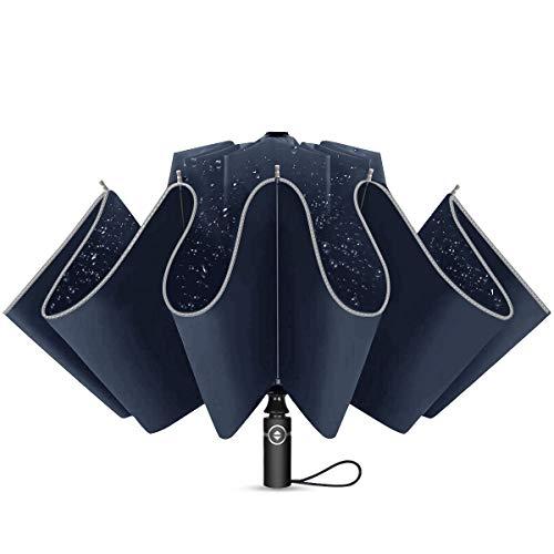Regenschirm Taschenschirm mit 10 Rippen und Nachtreflektierende Streifen Auf-Zu-Automatik Sturmfest Windfest 140 km/h Kompakt Leicht Stabil Winddicht 210T Teflon Schirm für Reisen Business, Blau