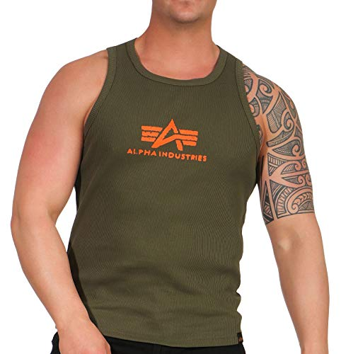 Alpha Industries Herren Tank Tops Logo grün L