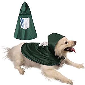 Impoosy Pet Dog Costume Cloak Cat Anime Scout Soldier Hoodies Cute Cosplay Cape for Small to Large Dogs Cats Clothes (Large)