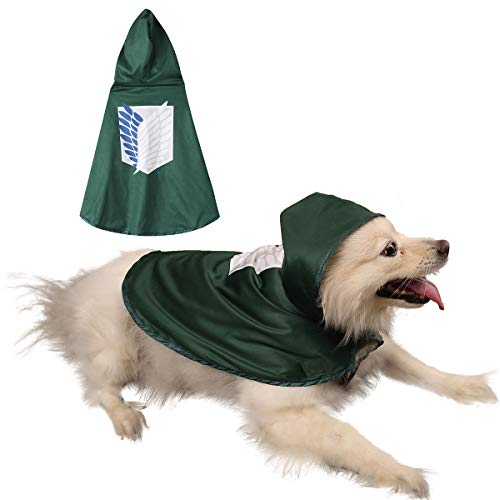 Impoosy Pet Dog Costume Cloak Cat Anime Scout Soldier Hoodies Cute Cosplay Cape for Small to Large Dogs Cats Clothes (X-Large)