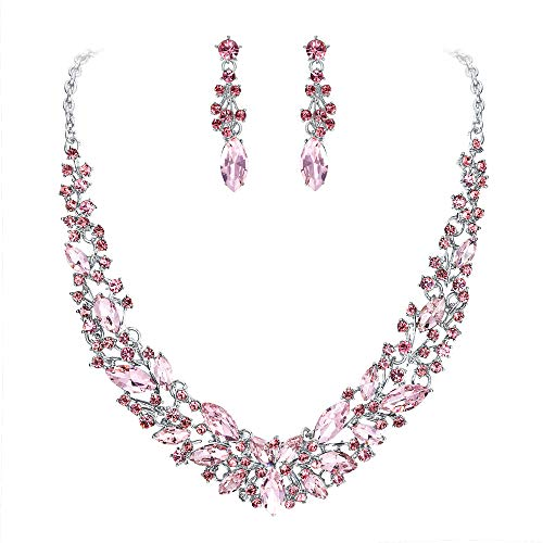 Clearine Wedding Bridal Necklace Earrings Jewelry Set for Women Austrian Crystal Marquise Cluster Collar Necklace Dangle Earrings Set Pink Silver-Tone