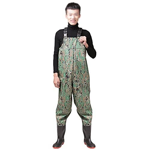 GXFXLP Vadeadores de Pesca Impermeables y Ligeros, Waders Transpirables Camuflaje PVC con Botas, Botas de Pescar Altas para Caza, Pesca en Hielo, Pantalones de Estanque Tallas 40-46,Verde,UK 9/EU 43