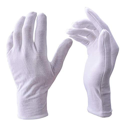 20 Pares de Guantes de algodón Blanco de 8 Pulgadas de tamaño Mediano para inspección de Monedas y Joyas de Plata