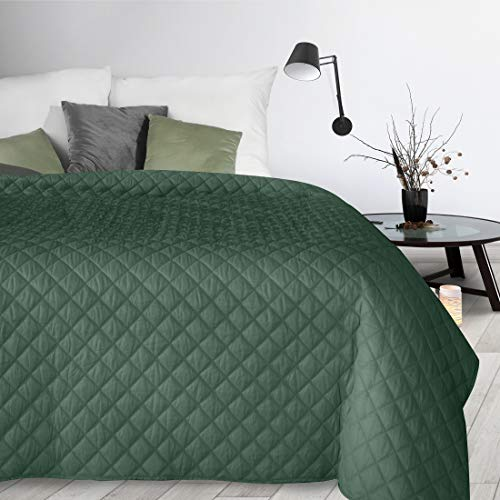 Design91 Tagesdecke Alara Gesteppter Bettüberwurf Einfarbig Steppung 3D Geometrisches Muster Ganzjährig (Dunkelgrün 3, 220 x 240 cm)