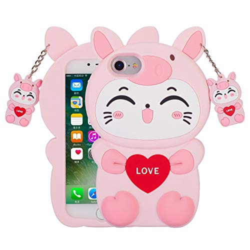 YINTRADE 3D Pink Cat Case for iPhone SE 2020/iPhone 8/iPhone 7/iPhone 6, Kawaii Cute Cartoon Animals Soft Silicone Shockproof Drop Protection Durable Phone Case for Girls Kids Women