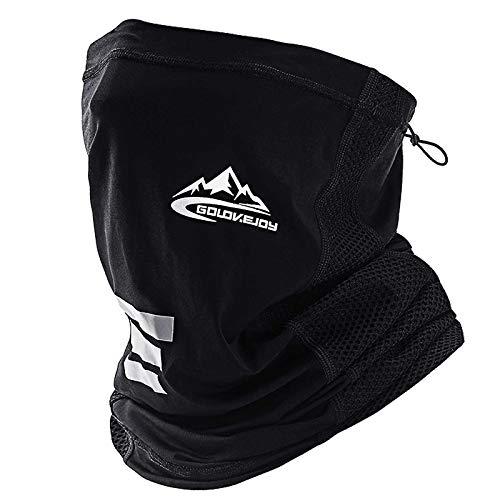 KOOLSEN ネックガード 夏 フェイスカバー UVカット 冷感 日焼け防止ネックカバー ハイキングフィッシング サイクリング (ブラック)