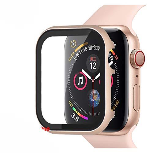 ZHONGGOZZ. Cristal + marco mate para Apple Watch 5, 4, 3, 44 mm, 42 mm, para iWatch Band 40 mm, 38 mm, metal parachoques, protección completa