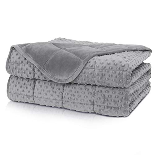 Huloo Sleep Weighted Blanket Queen 15lbs for Adult(60'×80',Gray) Breathable Soft Minky Weighted...