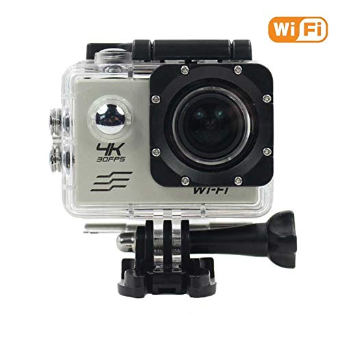CAPTIANKN Action Camera-4K WiFi Ultra HD Cámara Deportiva a Prueba de Agua Pantalla de LCD de 18 Grados y 2 Grados 18 Accesorios,Gray