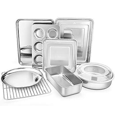 TeamFar Bakeware, Stainless Steel Bakeware Set with Baking Sheet and Rack, Lasagna Pan with Lid, Square & Round Cake Pan with Lid, Muffin Pan & Loaf Pan, Pizza Pan, Healthy & Dishwasher Safe