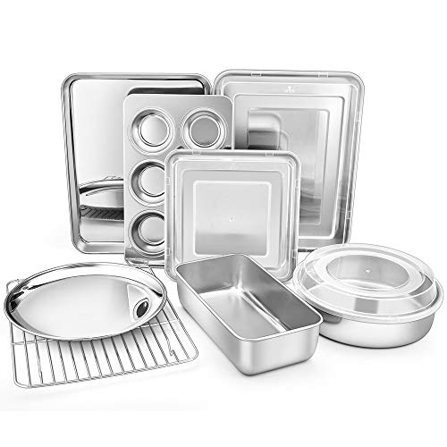 TeamFar Bakeware, Stainless Steel Bakeware Set with Baking Sheet and Rack, Lasagna Pan with Lid, Square & Round Cake Pan with Lid, Muffin Pan & Loaf Pan, Pizza Pan, Healthy & Dishwasher Safe