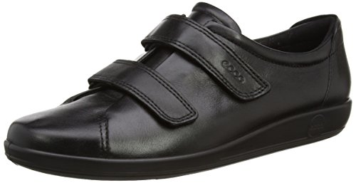 Ecco ECCO SOFT 2.0, Damen Derby Klettverschluss, Schwarz (BLACK WITH BLACK SOLE56723), 38 EU