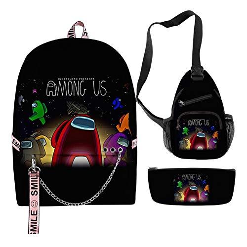 SMchwbc 3pcs / Set morral de la Escuela 2020 Nueva Entre Nosotros empaqueta for Chicas Adolescentes Viaje Mochila Mujeres Bolsas de Libros Estudiante Adolescente Schoolbag (Color : 8)