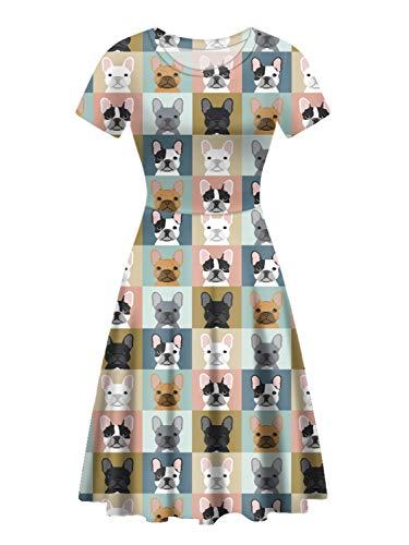 UNICEU Womens Cute Cartoon French Bulldog Print Fit and Flare Cocktail Dress (Medium)