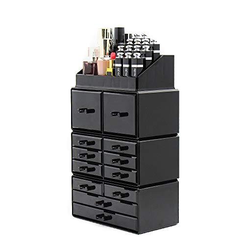 Dawoo Organizador de Maquillaje acrílico Caja de Almacenamiento de Joyas Caja de cosméticos (12 cajones Negros)