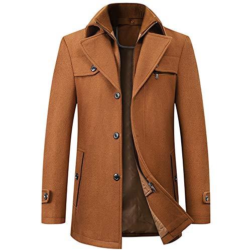 FAXIKIO Herren Wintermantel / Mantel aus Wolle, normale Passform, einreihig, Trenchcoat, Peacoats Gr. XL, braun
