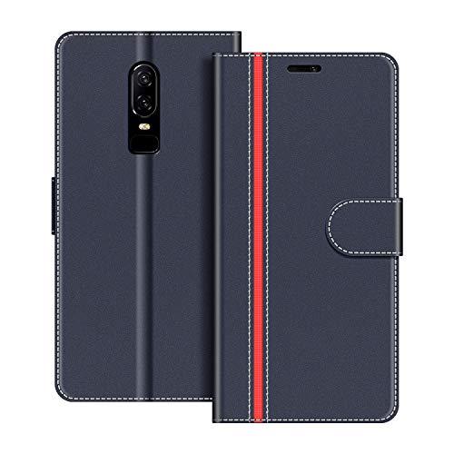 COODIO Handyhülle für OnePlus 6 Handy Hülle, OnePlus 6 Hülle Leder Handytasche für OnePlus 6 Klapphülle Tasche, Dunkel Blau/Rot