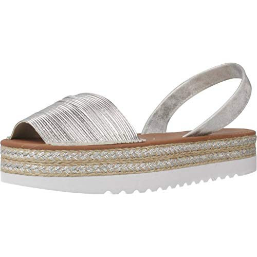 MENORQUINAS POPA Damen Sandalen Sandaletten 139001P Silber 36 EU