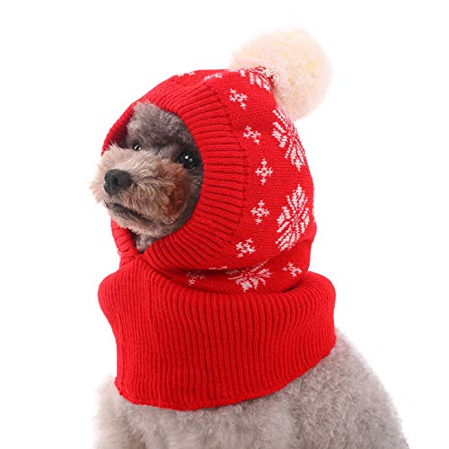 Kuoser Dog Winter Hat, Dog Knitted Hat Pet Christmas Winter Warm Caps Cute Accessories Neck Ear Warmer Hood Warm Scarf Party Decoration for Pet Cat and Dog fit for Small Medium Large Dogs L