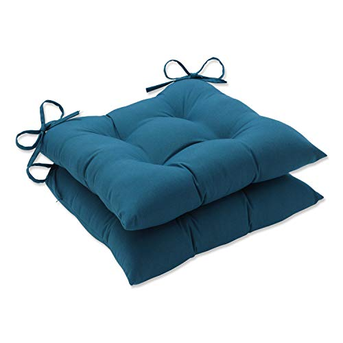 Pillow Perfect Wrought Iron Seat Cushion (Set of 2), Blue, 19 X 18.5 X 5