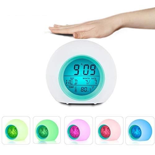 Kinder Wecker, Wake Up Light LED Digitaluhr für Schlafzimmer mit Touch Control 7 Farben Licht, 6 Naturgeräusche, mit Innentemperaturkalender