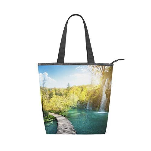 Jeansame Canvas-Handtasche für Damen, Shopper, Tragegriff, Schultertaschen mit Reißverschluss, Naturbrücke, See, Wasserfall, Wald