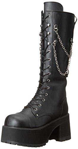 Ranger 303 Plateau unisex kniehohe Stiefel mit Kette Detail schwarz - (37 EU = US 5) - Demonia