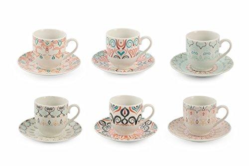 Villa d 'Este Home Tivoli Sharm Juego Tazas Café, Porcelana, Multicolor, 6unidad