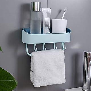 サニタリーセット バスルーム棚付きタオルバーウォールはシャワーストレージコーナーシェルフ浴室の棚をマウント (Color : 水色, Size : フリー)