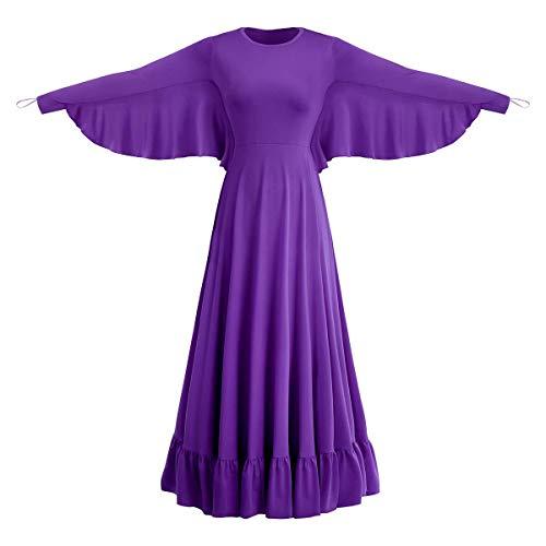 Women Angel Isis Wings Praise Dance Dress Liturgical Dancewear Worship Costume Long Sleeve Church Robe Full Length Gowns Purple 2XL