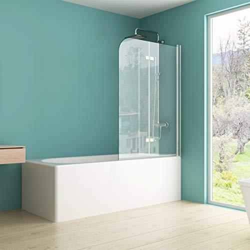 IMPTS Duschabtrennung 110x140cm, Duschwand Faltwand für Badewanne 2 TLG, Badewannenaufsatz mit 6mm Nano ESG Glas 180°Schwingen