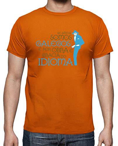 latostadora - Camiseta Castelao - por Obra E para Hombre Naranja M