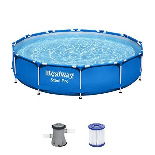 Bestway Steel Pro Framepool ohne Pumpe, rund, 366 x 76 cm Pool, Blau