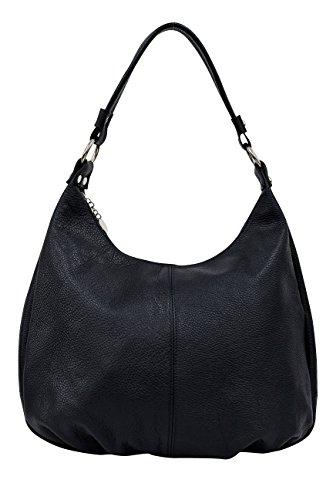 AMBRA Moda,Damen Handtasche, Echtes Leder,Beutel,Schultertasche,Hobo Bags,Shopper, DIN-A4 GL001 (Marineblau)