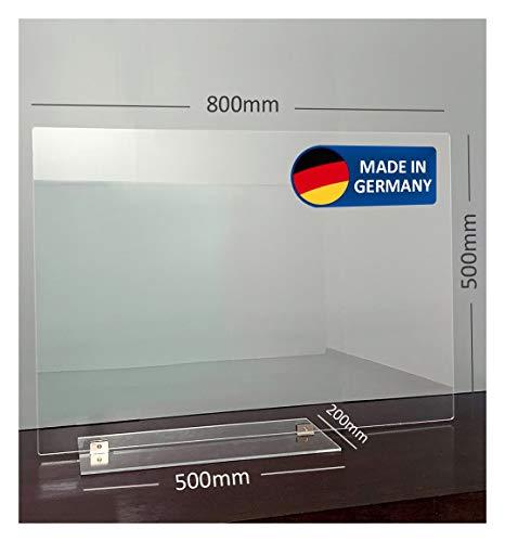 Displayhersteller | Trennwand Plexiglas Schreibtisch | Acrylic Table Dividing Wall | 5mm Materialstärke Plexiglas | für den Arbeitsbereich | Selbststehend | Abtrennwand (80 x 50cm)