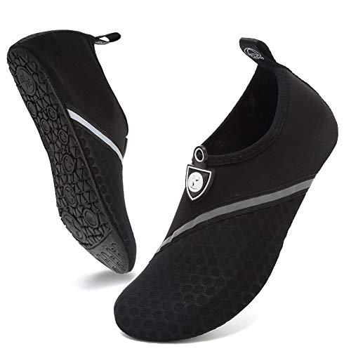 Deevike Wasserschuhe Strandschuhe Schwimmschuhe Barfussschuhe Yoga Schuhe Schnell Trocken Socken für Damen Herren Schräg Splice Schwarz 44/45