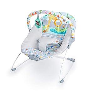 Bright Starts Hamaca bebé Safari Fun, con vibraciones y arco de juego, niñas