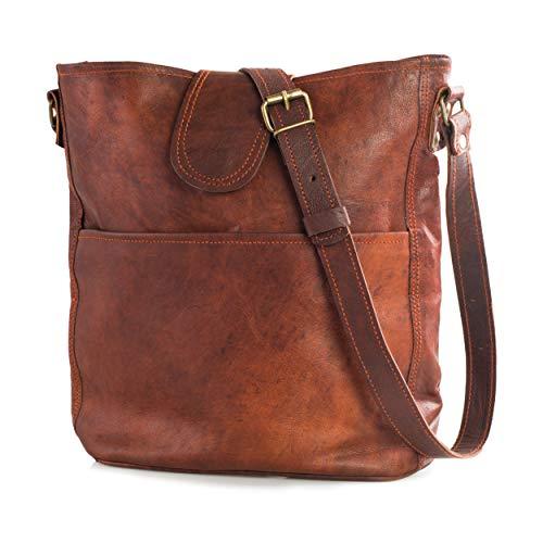 Nama 'Nicola' Umhängetasche Echtes Leder Shopper für Damen Vintage Look Handtasche Beutel Tasche Schultertasche Multitasche Naturleder Braun