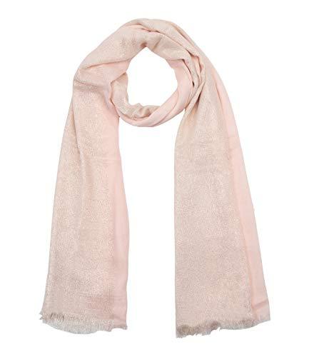 SIX Halstuch mit schimmernden Streifen, rosa, silber (705-993)